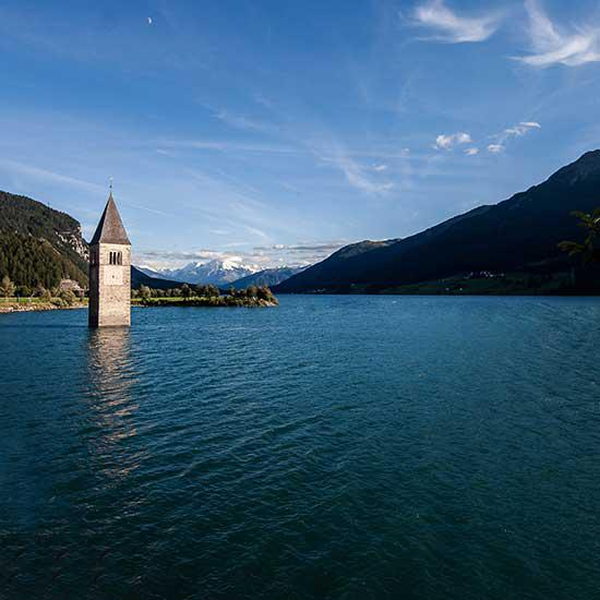 The tower of the sunken church in the Reschensee lake
